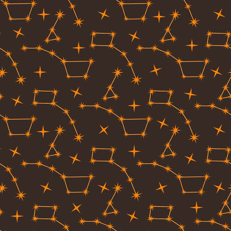 Seamless vector pattern with constellations. Space exploration. Astronomy. Science. Design for astronomy apps, websites, print. Ilustrace