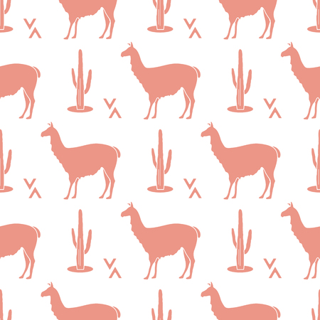 Seamless pattern with llama and cactus. Animal background. Design for card, announcement, advertisement, banner or print.