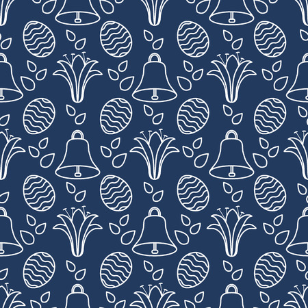 Seamless pattern with bells, lilies, decorated eggs. Happy Easter. Festive background. Design for banner, poster or print. Ilustrace