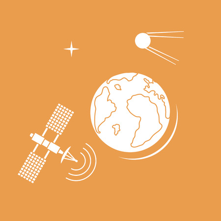 Planet Earth, satellite, orbital station vector illustration. Earth Day. Space exploration. Astronomy. Science. Design for astronomy apps, websites, print. Ilustrace