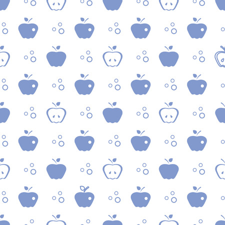 Seamless pattern with apples. Vector illustration with apple and leaf. Fruit background. Design for poster, textile, greeting card. Ilustrace