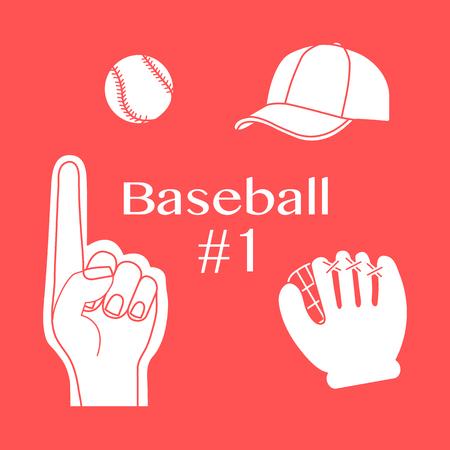 Vector illustration with baseball foam finger, ball, cap, glove. Sports background. Design for banner, poster or print. Stockfoto - 123101169