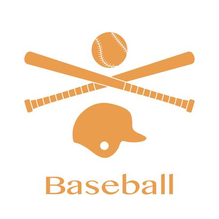 Vector illustration with baseball bats, ball, helmet. Sports background. Design for banner, poster or print. Illusztráció