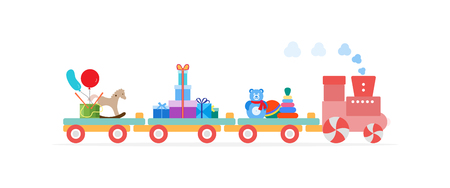 Funny vector illustration with train carries toys: pyramid, roly-poly toy, rocking horse, gifts, ball, drum, balloons. Happy New Year 2019, Christmas, Birthday. Sale, shopping concept.