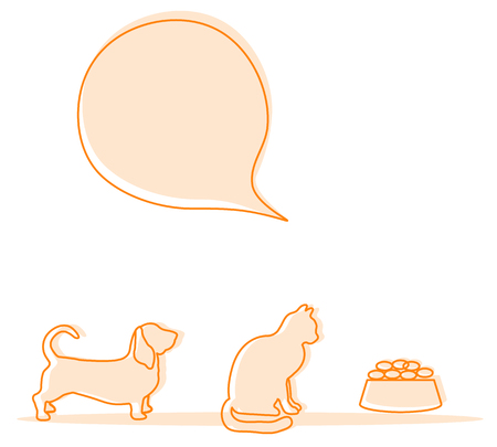 Vector illustration with silhouette of dog, cat, food for animals. Health care, vet, nutrition, exhibition. Design element for websites, banner, poster or print.