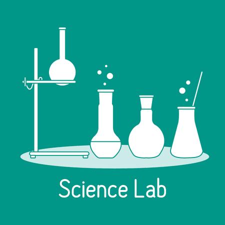 Vector science illustration with flasks, equipment stand. Laboratory equipment. Education elements. Chemistry, biology, medicine. Foto de archivo - 123012332