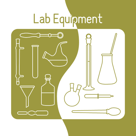 Vector science illustration with flasks, test tubes, funnel, tools. Laboratory equipment. Education elements. Chemistry, biology, medicine.