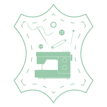 Vector illustration with tools and accessories for sewing. Button, thread, sewing machine, pins, needle. Template for design, fabric, print.