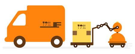 Vector illustration with robot loader loads boxes into a truck. Automation warehouse processes. Smart Logistic. Robotic worker. Cargo Delivery. New technologies.