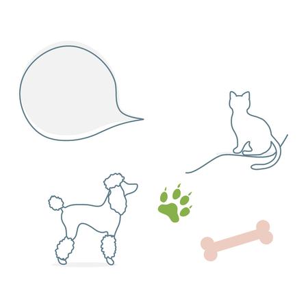 Vector illustration with silhouette of dog, cat, bone, animal track. Design element for websites, banner, poster or print. Illustration