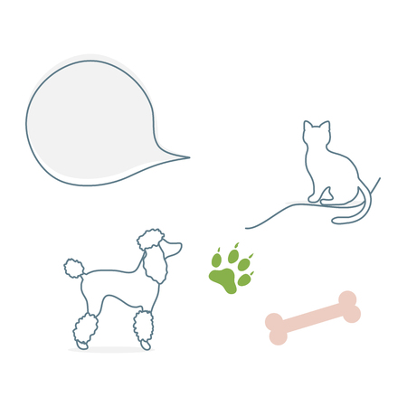 Vector illustration with silhouette of dog, cat, bone, animal track. Design element for websites, banner, poster or print. Illusztráció