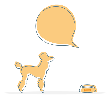 Vector illustration with silhouette of dog, bowl. Health care, vet, nutrition, exhibition. Design element for websites, banner, poster or print.