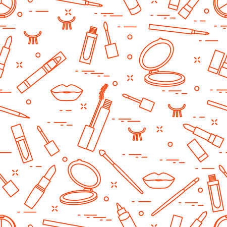 Vector seamless pattern with eyelashes, mascara, lips, lipstick, mirror, brush, pencil. Decorative cosmetics, makeup background. Glamour fashion vogue style.