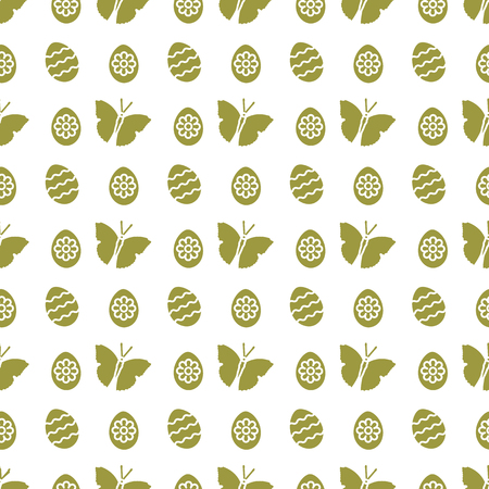 Seamless pattern with Easter eggs, butterflies. Happy Easter. Festive background. Design for banner, poster or print.