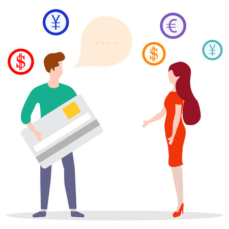 Vector illustration with man with bank card, female assistant helping clients. Financial services. Use of banking technology. Consultant for customer. Stock Illustratie