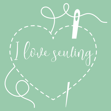 Vector illustration with heart stitches and needle with thread. Tools, accessories for sewing. Template for design, fabric, print. Illustration