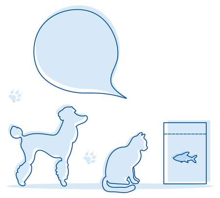 Vector illustration with silhouette of dog, cat, fish food. Health care, vet, nutrition, exhibition. Design element for websites, banner, poster or print.