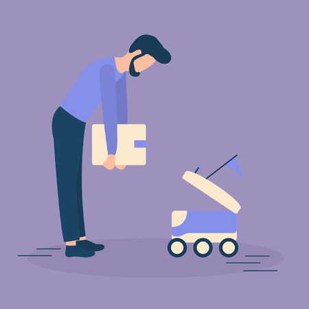 Vector illustration with man puts box in the delivery robot. Modern robotic express delivery service. Artificial intelligence. Design for websites, print, presentation. Illustration
