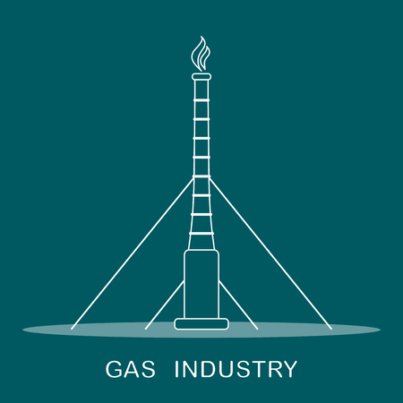 Vector illustration with equipment for gas production. Gas industry. Drilling gas rig.