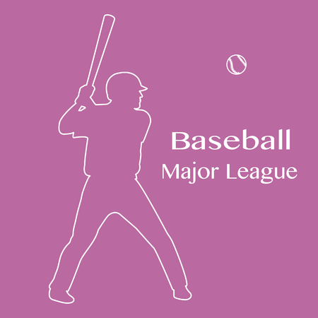 Vector illustration with baseball player standing with bat in his hands and ball. Sports background. Design for banner, poster or print.