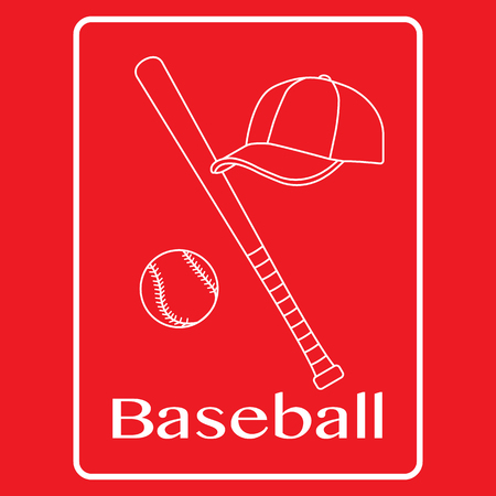 Vector illustration with baseball bat, ball, cap. Sports background. Design for banner, poster or print.