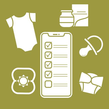 Illustration vectorielle avec smartphone avec liste de contrôle, accessoires pour nouveau-né. Body, boîte de nourriture pour bébé, couches, tétine, hochet. Shopping en ligne.