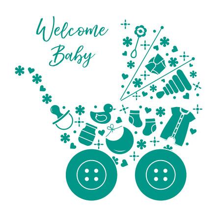 Ilustración de vector con cochecito de bebé, productos para bebés. Fondo de bebé recién nacido. Pezón de bebé, calcetines, pañal, body, pato, babero, tarro de comida para bebé, pirámide, sonajero. Ilustración de vector