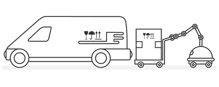 Vector illustration with robot loader loads boxes into a car. Automation warehouse processes. Smart Logistic. Robotic worker. Cargo Delivery. New technologies.
