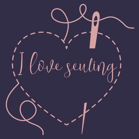 Ilustración de vector con puntos de corazón y aguja con hilo. Herramientas, accesorios para coser. Plantilla para diseño, tela, impresión.