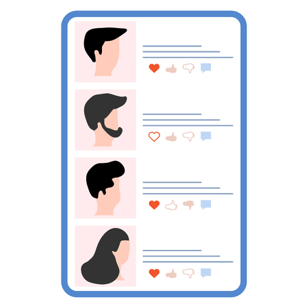 Vector illustration with online dating. Modern technology for dating. Virtual relationship and love. Communication between people through network. Design for app, banner, poster or print.