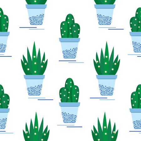 Vector seamless pattern with potted cactus, succulents. Trendy background. Tropical plants. Template for design, fabric, print. 向量圖像