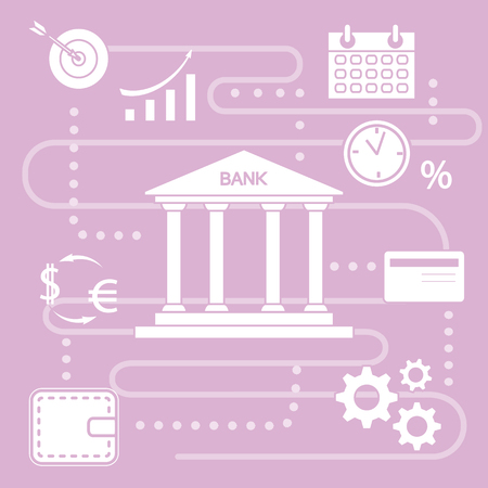Vector illustration with banking line icon. Bank building, credit card, percentage, profit growth chart, currency exchange, gears, wallet. Finance, money investment. Design for websites, print