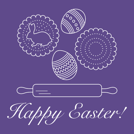 Vector illustration with cookies, rabbit-shaped glaze and without, decorated eggs, rolling pin. Happy Easter. Festive background. Design for banner, poster or print.