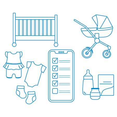 Illustration vectorielle avec smartphone avec liste de contrôle, accessoires pour nouveau-né. Landau, berceau, biberon, bidon pour bébé, chaussettes, combinaisons. Shopping en ligne.