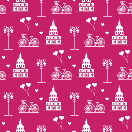 Modèle sans couture avec bâtiment célèbre, vélo, lanterne, ballons, coeurs. Voyages et loisirs. La Saint-Valentin. Fond romantique.