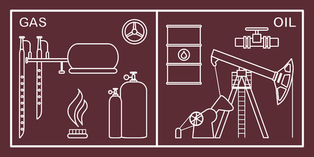Illustration vectorielle avec équipement pour la production de pétrole et de gaz. Industrie pétrolière, industrie gazière. Extraction et stockage de pétrole et de gaz. Vecteurs
