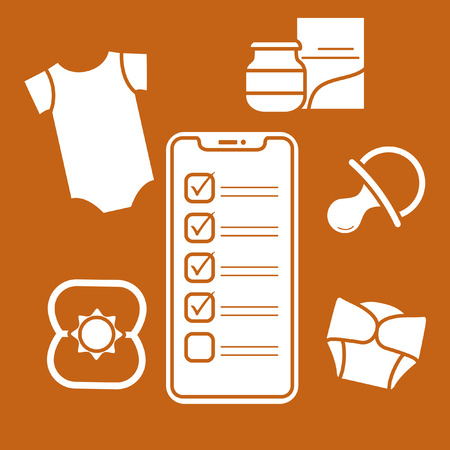 Vector illustration with smartphone with checklist, newborn baby accessories.  Bodysuit, baby food can, diapers, nipple, rattle. Online shopping. Illustration