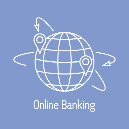 Vector illustration with arrows around planet earth with location. Electronic payment, internet finance. Financial services. Use of banking technology. Design for apps, websites, print, banner, presen