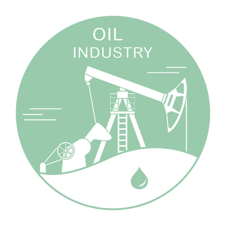 Vector illustration with equipment for oil production. Oil industry. Working oil pump.