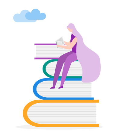 Vector illustration with woman and books. Young female reader, stack of giant books. Literature fans. Trendy design concept for print. Illusztráció