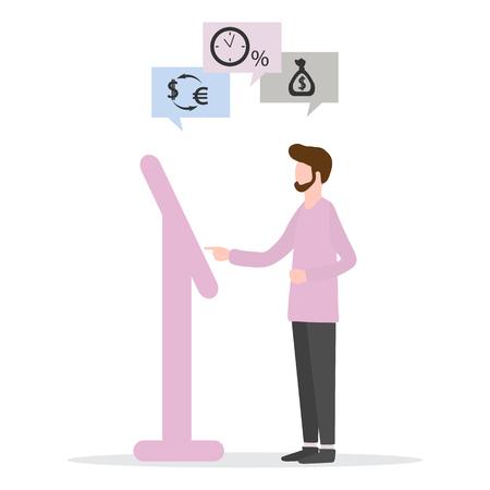 Ilustracja wektorowa z człowiekiem wybiera transakcję bankową w terminalu: wypłata kredytu, depozyt bankowy, kantor wymiany walut. Usługi finansowe. Wykorzystanie technologii bankowej. Ilustracje wektorowe