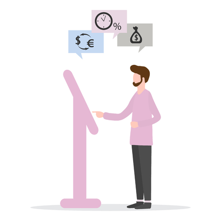 Vector illustration with man chooses bank transaction at the terminal: loan payment, bank deposit, currency exchange. Financial services. Use of banking technology. 向量圖像
