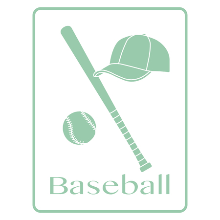 Vector illustration with baseball bat, ball, cap. Sports background. Design for banner, poster or print.