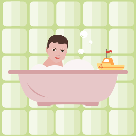 Vector illustration with boy in the bath. Bathroom. Happy childhood. Design for postcard, banner, poster or print.