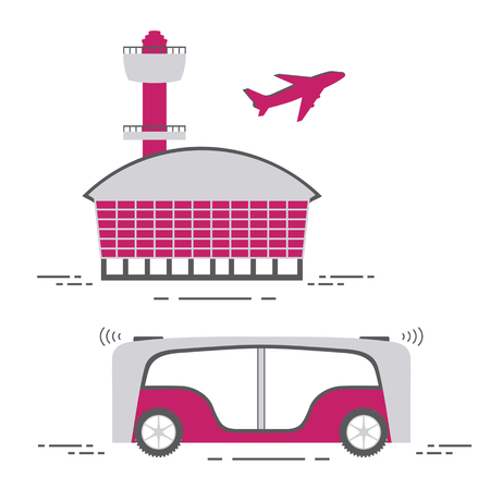 Self-driving transportation of passengers to airport. Automated bus, autonomous vehicle,  driverless bus. Scientific and technical progress. New technology.