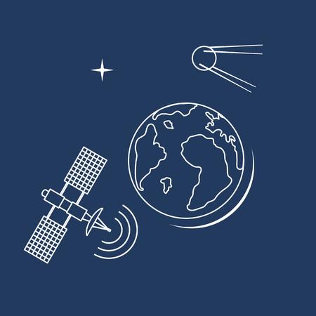 Planet Earth, satellite, orbital station vector illustration. Earth Day. Space exploration. Astronomy. Science. Design for astronomy apps, websites, print. Ilustração