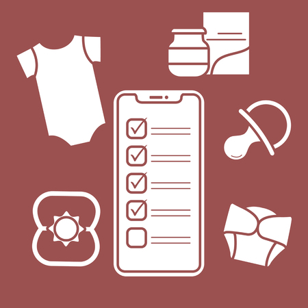 Vector illustration with smartphone with checklist, newborn baby accessories.  Bodysuit, baby food can, diapers, nipple, rattle. Online shopping. Vettoriali