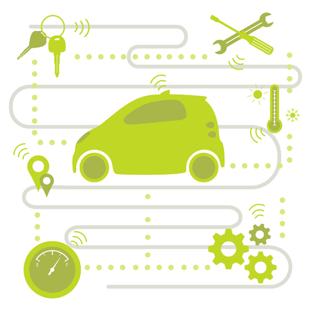 Smart self-driving car transfer of information about its condition: location, amount of fuel, temperature conditions in the car, need for repair. Automated car, autonomous vehicle,  driverless car.