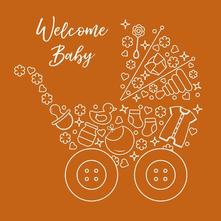 Vector illustration with baby stroller, goods for babies. Newborn baby background. Baby nipple, socks, diaper, bodysuit, duck, bib, baby food jar, pyramid, rattle.