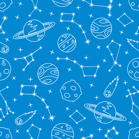 Seamless vector pattern with constellations, planets, Saturn, comet. Space exploration. Astronomy. Science. Design for astronomy apps, websites, print. Illustration